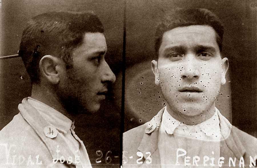 Foto policíaca de Josep Vidal Coste (26 de maig de 1923)