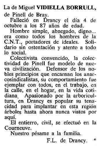 """Necrològica de Miquel Vidiella Borrull apareguda en el periòdic tolosà """"Cenit"""" del 8 de novembre de 1983"""
