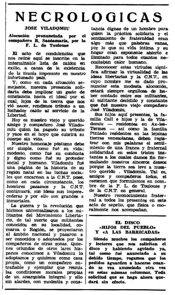 """Necrològica de Josep Viladomiu Viñoles aparegua en el periòdic tolosà """"Espoir"""" del 29 d'octubre de 1967"""
