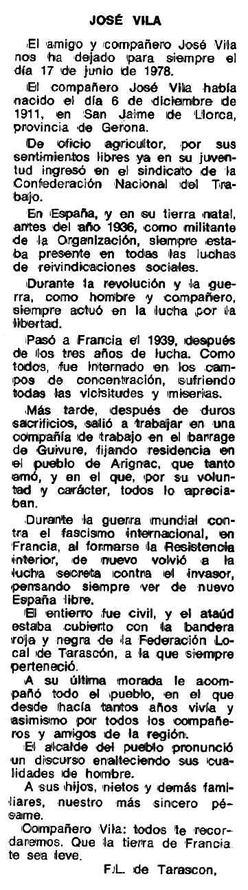 """Necrològica de Josep Vila Expósito apareguda en el periòdic tolosà """"Espoir"""" del 21 de març de 1979"""