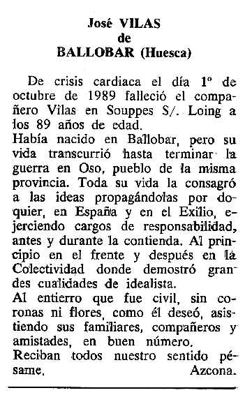 "Necrològica de José Vilas Camarasa apareguda en el periòdic tolosà ""Cenit"" del 31 d'octubre de 1989"