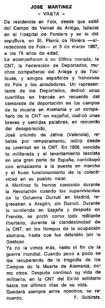 """Necrològica de José Martínez Ramón (""""Vileta"""") apareguda en el periòdic tolosà """"Cenit"""" del 14 d'abril de 1987"""