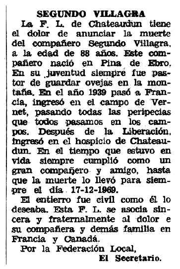 """Necrològica de Segundo Villagra apareguda en el periòdic tolosà """"Espoir"""" del 29 de març de 1970"""