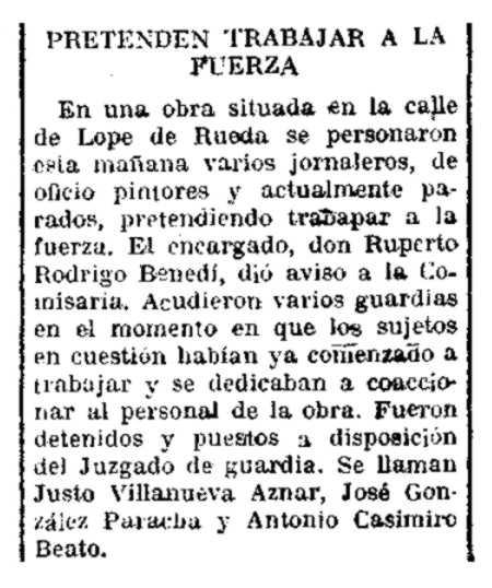 "Notícia de la detenció de Justo Villanueva Aznar apareguda en el diari madrileny ""El Siglo Futuro"" del 25 d'agost de 1933"