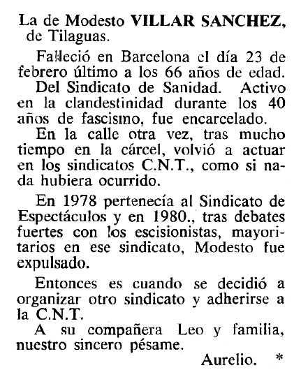 """Necrològica de Modesto Villar Sánchez apareguda en el periòdic tolosà """"Cenit"""" del 20 de desembre de 1983"""