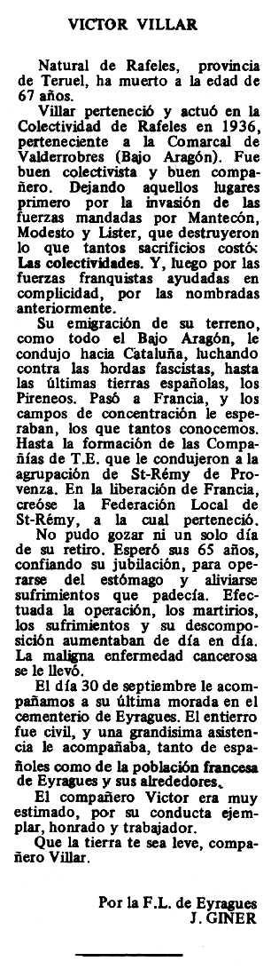"Necrològica de Victorino Villar Serrat apareguda en el periòdic tolosà ""Espoir"" del 9 de novembre de 1980"
