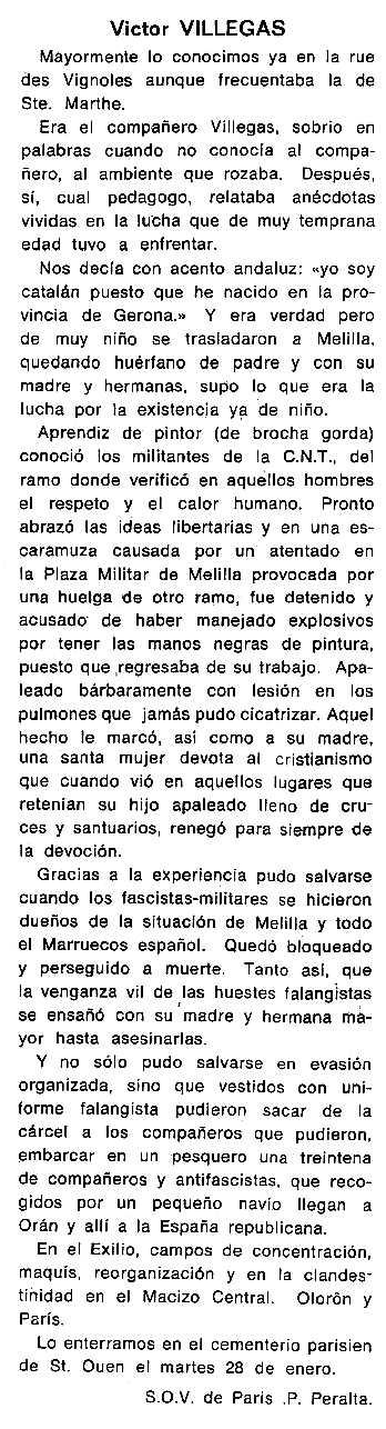 """Necrològica de Víctor Villegas Navarro apareguda en el periòdic tolosà """"Cenit"""" del 18 de març de 1986"""