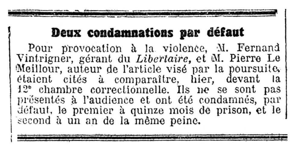 """Notícia d'una de les condemnes de Fernand Vintrigner apareguda en el diari parisenc """"Le Temps"""" del 26 de maig de 1939"""