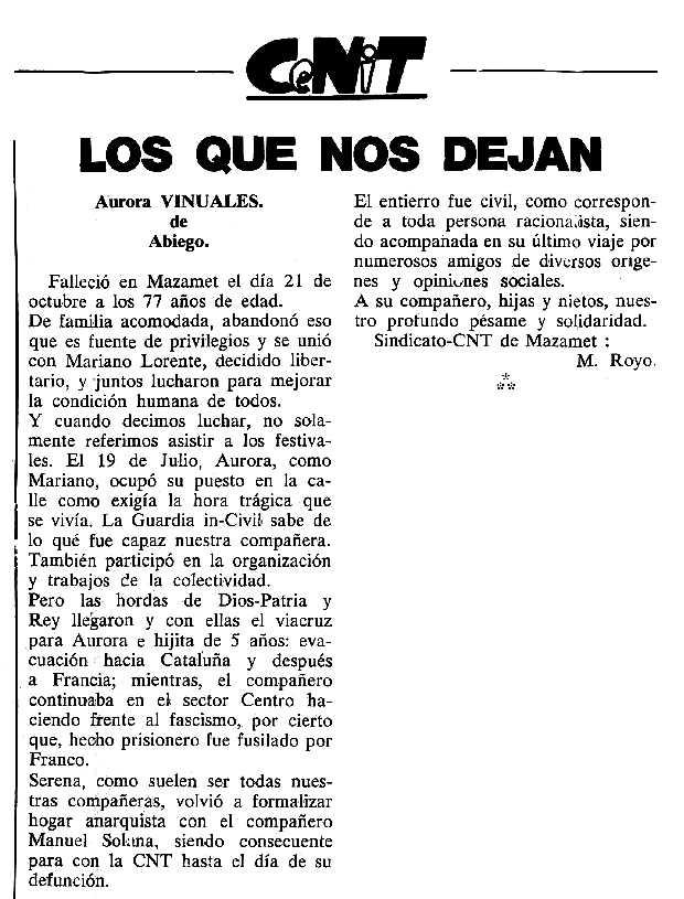 "Necrològica d'Aurora Viñuales Lasierra publicada en el periòdic tolosà ""Cenit"" del 20 de desembre de 1988"