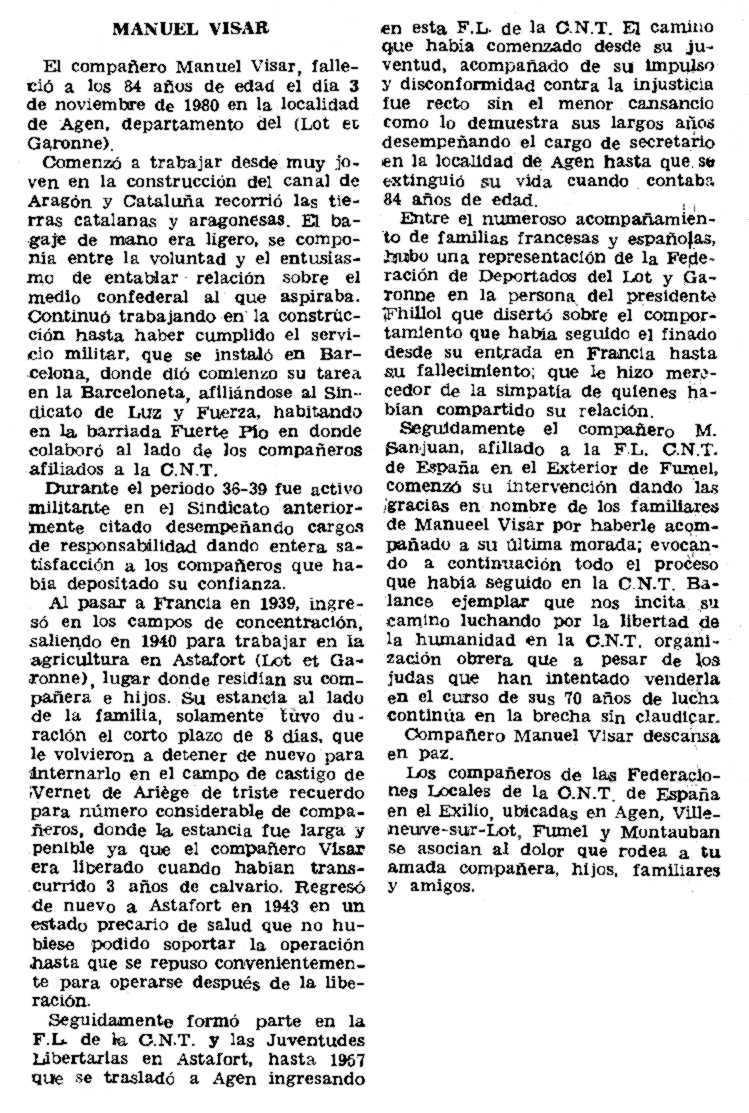 """Necrològica de Manuel Visar Naval apareguda en el periòdic parisenc """"Le Combat Syndicaliste"""" del 15 de gener de 1981"""