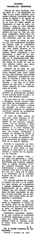"""Necrològica de Ricardo Viscasillas Borderas apareguda en el periòdic tolosà """"Espoir"""" del 17 de desembre de 1972"""