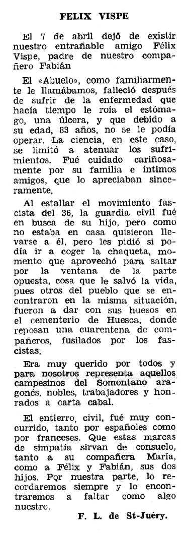"""Necrològica de Félix Vispe Cancer apareguda en el periòdic tolosà """"Espoir"""" del 18 de setembre de 1966"""