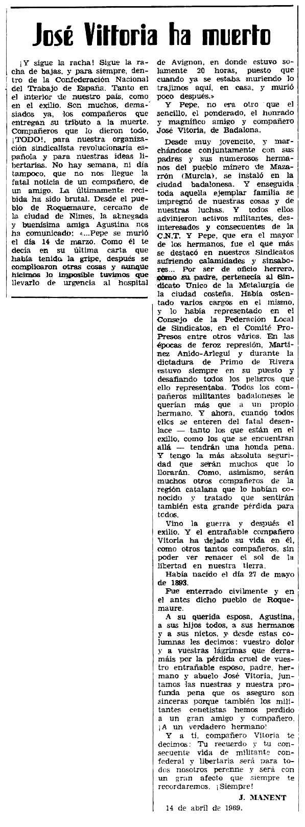"""Necrològica de José Vitoria apareguda en el periòdic tolosà """"Espoir"""" del 18 de maig de 1969"""