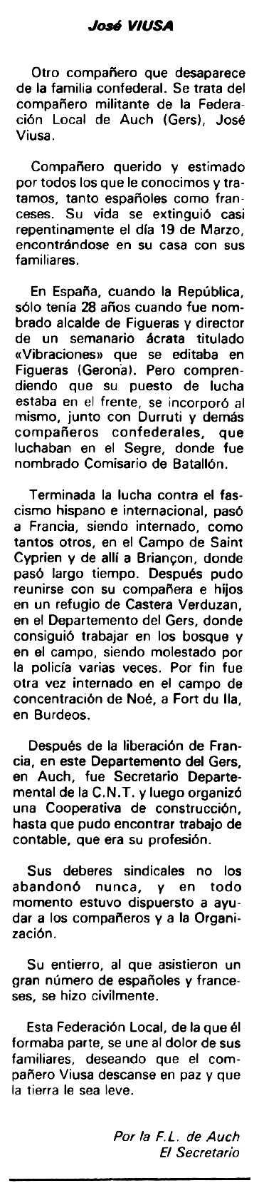 """Necrològica de Josep Viusà Camps apareguda en el periòdic tolosà """"Espoir"""" del 17 de maig de 1981"""