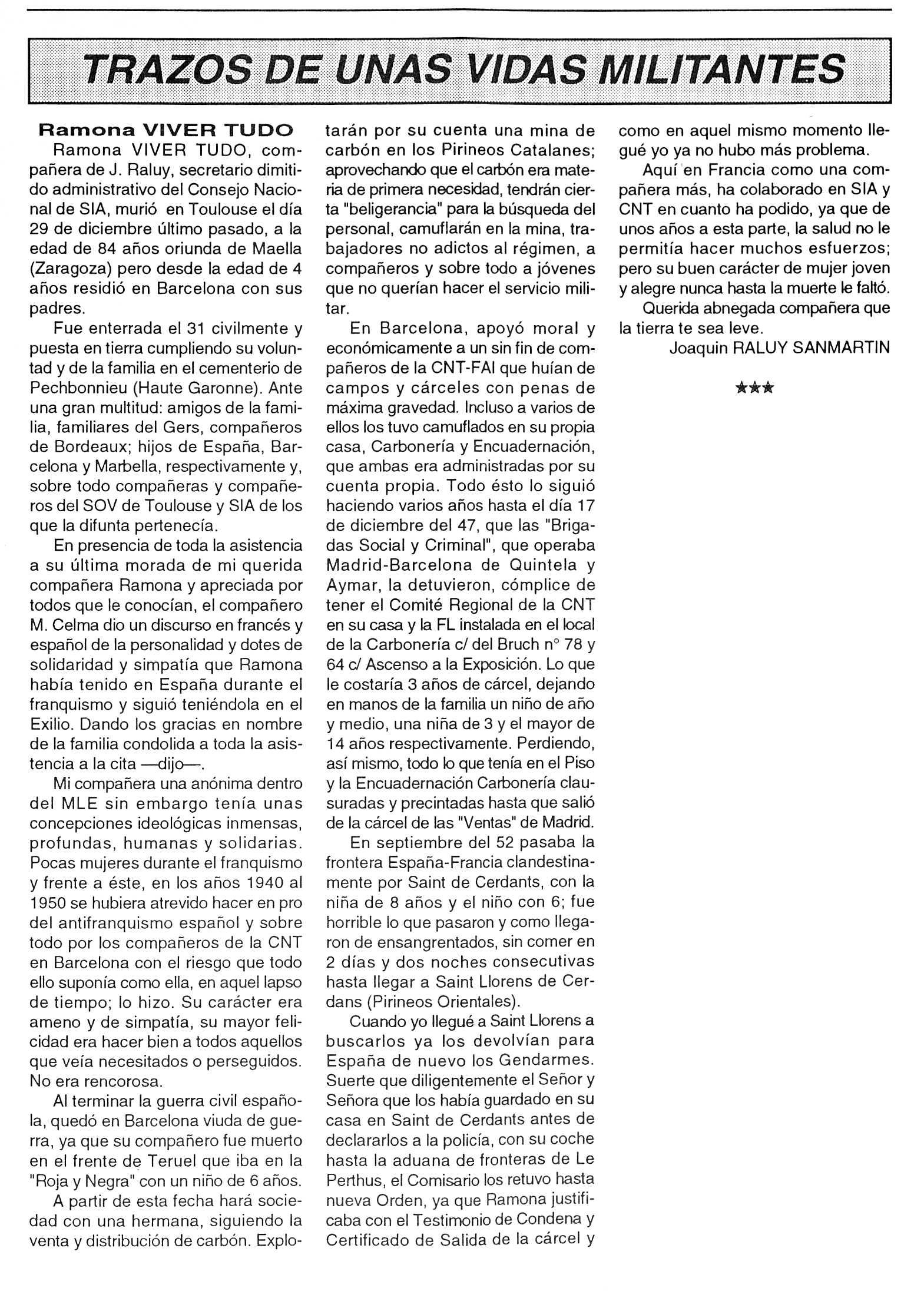 """Necrològica de Ramona Viver Tudó apareguda en el periòdic tolosà """"Cenit"""" del 9 de febrer de 1993"""