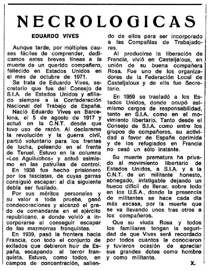 """Necrològica d'Eduard Vives apareguda en el periòdic tolosà """"Espoir"""" del 22 d'octubre de 1972"""