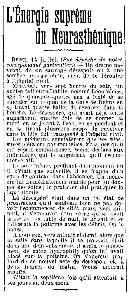 """Notícia del suïcidi de Léon Weiss apareguda en el diari parisenc """"Le Journal"""" del 15 de juliol de 1910"""