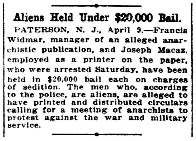 """Notícia de la detenció de Francis Widmar apareguda en el diari de Washington """"Evening Star"""" del 9 d'abril de 1917"""