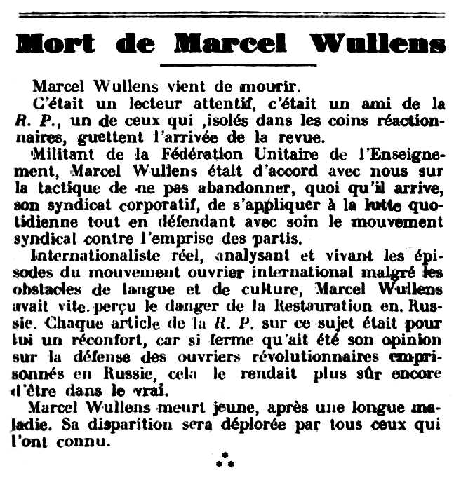 "Necrològica de Marcel Wullens apareguda en el periòdic parisenc ""La Révolution Proletarienne"" del 15 d'abril de 1928"