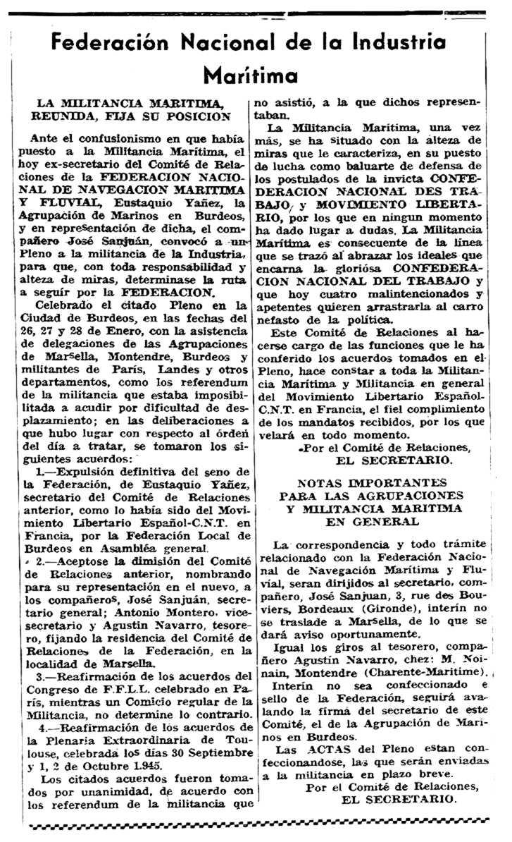 """Notícia de l'expulsió de la CNT d'Eustaquio Yáñez Yáñez apareguda en el periòdic parisenc """"Solidaridad Obrera"""" del 8 de febrer de 1946"""