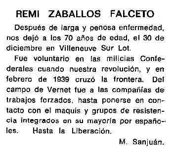 """Necrològica de Remigio Zaballos Falceto apareguda en el periòdic tolosà """"Cenit"""" del 4 de març de 1986"""