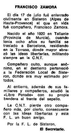 "Necrològica de Francisco Zamora Vélez apareguda en el periòdic tolosà ""Espoir"" del 3 de desembre de 1972"