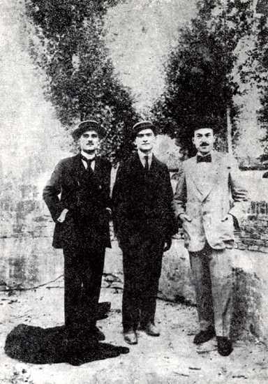 Els redactors d'«Il Senio». D'esquerra a dreta: Francesco Serantini, Mario Santandrea i Oreste Zanelli (foto d'Stefano Bosi)