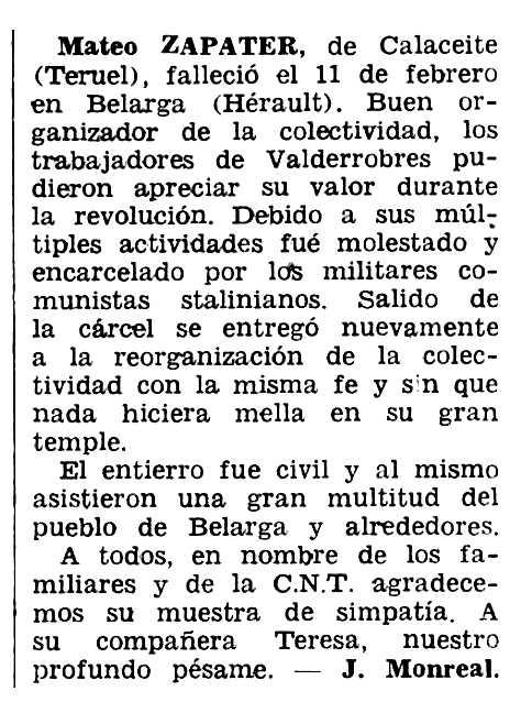 """Necrológica de Mateo Zapater aparecida en el periódico tolosano """"Espoir"""" del 15 de mayo de 1966"""
