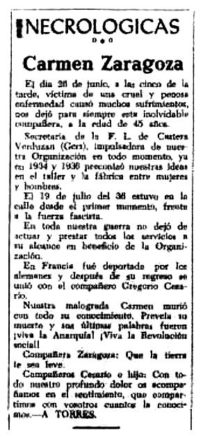 """Necrològica de Carmen Zaragoza Pérez apareguda en el periòdic tolosà """"CNT"""" del 21 de juliol de 1951"""