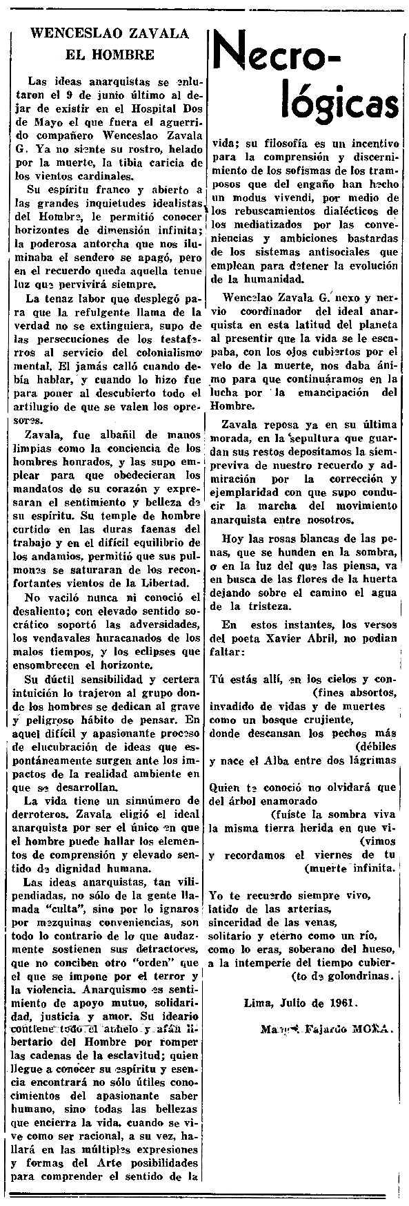 """Necrològica de Wenceslao Zavala Grimaldo apareguda en el periòdic mexicà """"Tierra y Libertad"""" de setembre de 1961"""