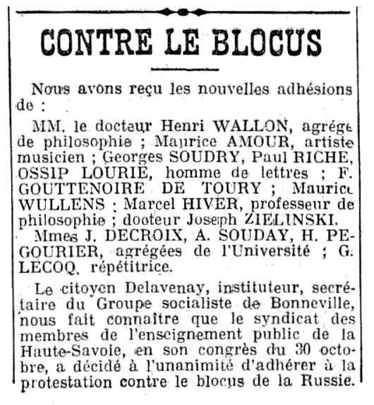"""Notícia sobre Joseph Zielinski apareguda en el diari parisenc """"L'Humanité"""" del 8 de novembre de 1919"""