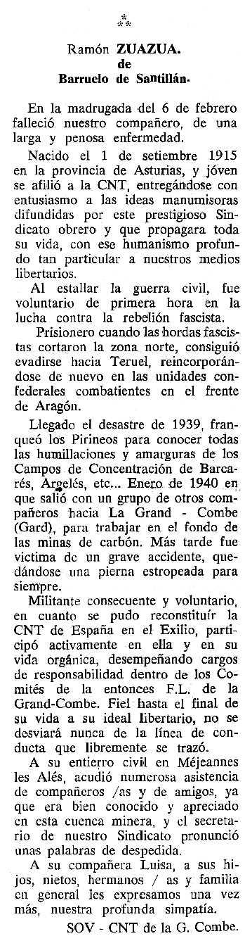 """Necrològica de Ramón Zuazúa Vañes apareguda en el periòdic tolosà """"Cenit"""" del 6 de setembre de 1988"""
