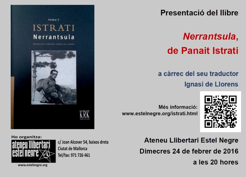 Presentació del llibre «Nerrantsula», de Panait Istrati, a càrrec del seu traductor Ignasi de Llorens (24-02-16)